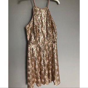Rose gold sequin halter skater dress
